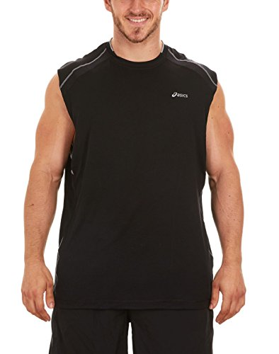 Motion Sleeveless (ASICS Men's Runaround Sleeveless Muscle T-Shirt (Small, Black/Gravel))