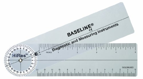Baseline 12-1006HR-25 Plastic Goniometer Rulongmeter Style Hires 360 Degree Head 7 Inch Arms 25-Pack by Unknown