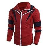 Mens Novelty Color Block Hoodies Cozy Sport Outwear (Red, XXL)