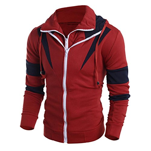 Mens Novelty Color Block Hoodies Cozy Sport Outwear (Red, XXL) by HTHJSCO