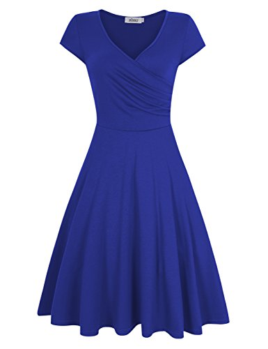Monica Lewinsky Costume (MISSKY Women A Line Shaped V Neck Short Sleeve Elegant Slim Fit and Flare Swing Dress For Spring Summer Blue L)