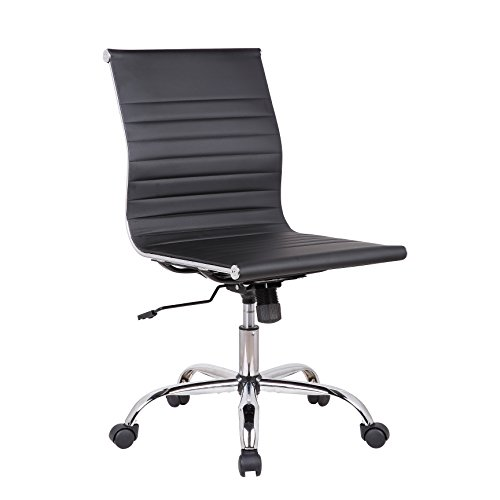 Porthos Home EFC019A BLK Karina Task Chair with Adjustable Height, 360° Swivel, Roller Caster Wheels and PU Leather Upholstery (Armless Design, for Home Studios and Small Offices), One Size Black
