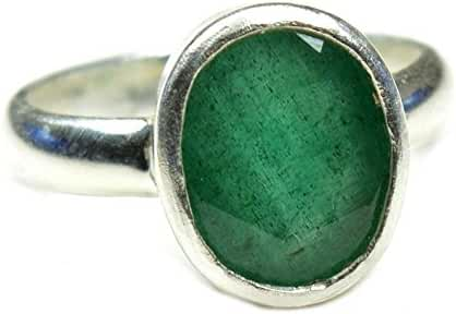 Jewelryonclick 6 Carat Stone Simple Natural Emerald Silver Ring Size US 5,6,7,8,9,10,11,12,13