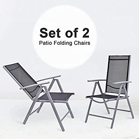 COSTWAY Aluminium Folding Chairs with Armrests, Adjustable Textilene Furniture Seats in 7 Positions, 2 x Reclining Foldable Chairs Set for Dining