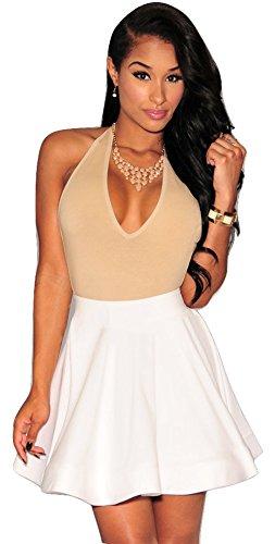 Falda de patinadora para mujer, color blanco, ropa para salir y ...