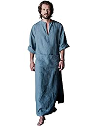 Mens Linen Robe Casual Kaftan Cotton Thobe V Neck Long Gown Side with Pockets Caftan