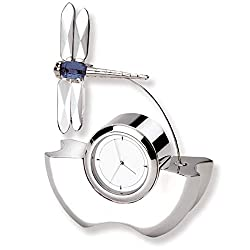 All Unique Gift Elegant Silver Quartz Clock Featuring Blue Crystal Dragon Fly Décor Tabletop