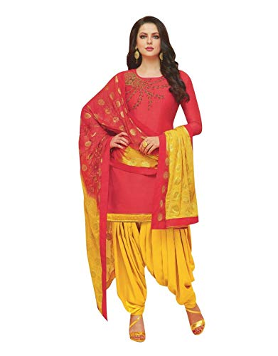Ladyline Plain Silk Handworked Patiala Salwar Kameez Embroidered Partywear Indian Pakistani Dress for Womens (Size_38/ Tomato Red)