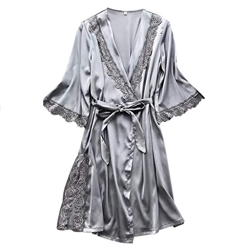 Pervobs Women Loose Sexy Sleepwear Lingerie Lace Soft ComfortableTemptation Belt Underwear Nightdress(L, Gray) by Pervobs T-Shirt (Image #3)