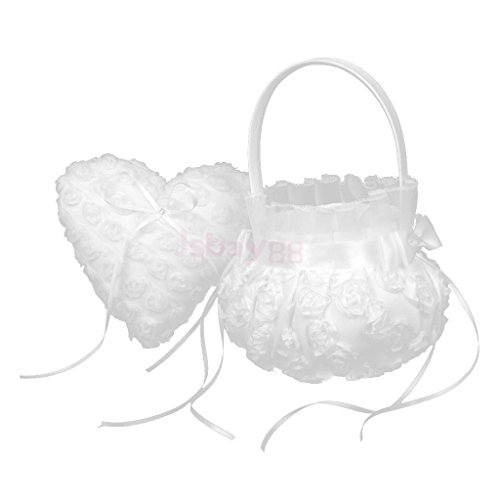 Discount Wedding Place Card Holders (OLIVE US-Pure White Lace Heart Ring Pillow Flower Girl Basket Set Wedding Party Decor)