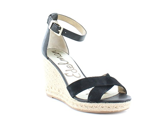 Sam Edelman Women's Brenda Black Kid Suede Leather/Matte Ontario Leather Sandal 10 M (Edelman Wedges Suede)