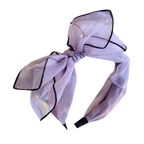 Headbands, Women's Bow Knotted Hair Band Lace HeadHoop Sweet Girl Casual Hair Accessories (Purple)