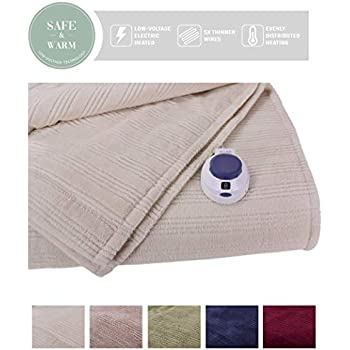 SoftHeat by Perfect Fit   Ultra Soft Plush Electric Heated Warming Blanket with Safe & Warm Low-Voltage Technology (Full, Natural)