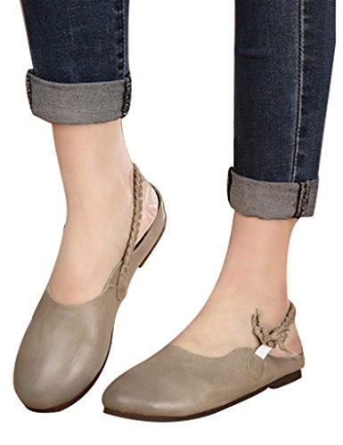 Youlee Women's Leather Flip Flops Woven Buckle Slippers Grey TwVSC7OJ