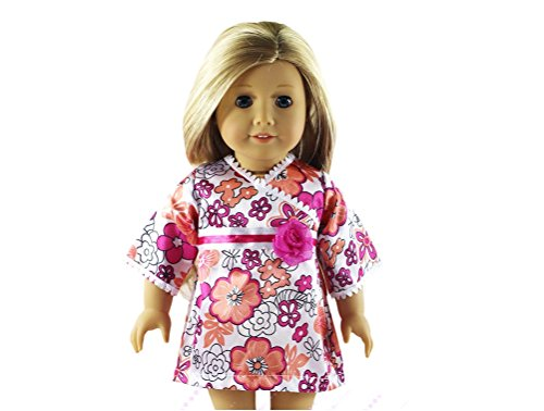 Glamerup: Debbie - 18 inch Faux Wrap Kimono Doll Dress in Colorful Flowery Print My Twinn Doll Shoes