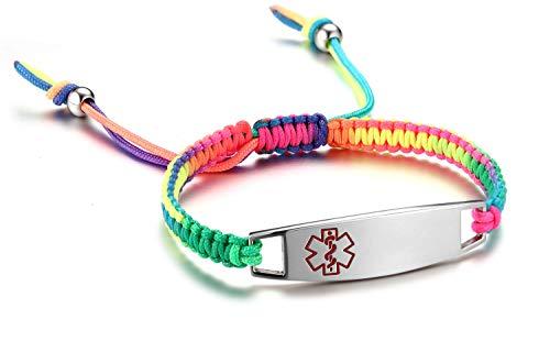 JF.JEWELRY Medical ID Alert Bracelet Kids Multicolor Nylon Rope Hand Braided Bracelet,Custom Engraving