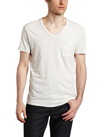 The Tee By Joe's Jeans Men's Jerick Short Sleeve Vneck Tee, Sand, Medium