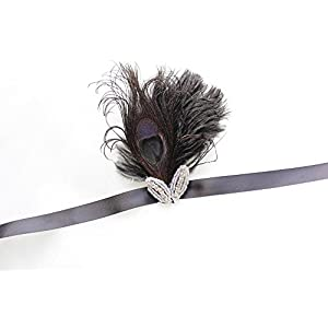 LISALI Black Ostrich Feather Corsage Gatsby Wedding Feathers Wrist Corsage Feacock Corsage Prom Flower girl,Bridesmaid 1920s Corsage 62