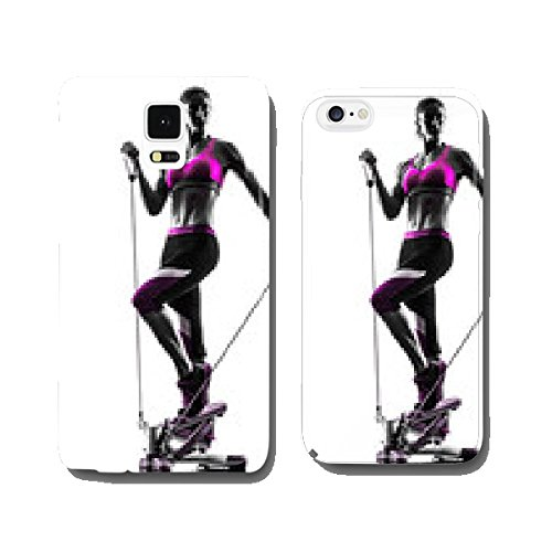 Woman fitness stepper resistance bands exercises silhouette cell phone cover case Samsung S5