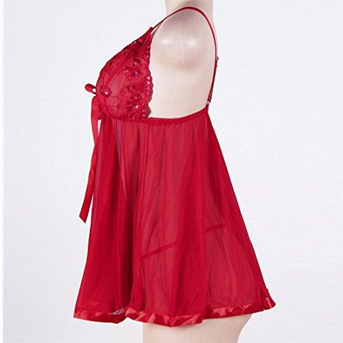 Taille Vêtements Confortable Nuit Douce Ai Lingerie Nuit Rouge Grande Ensemble Babydoll De Femmes moichien Sexy Rwcv0HUFq