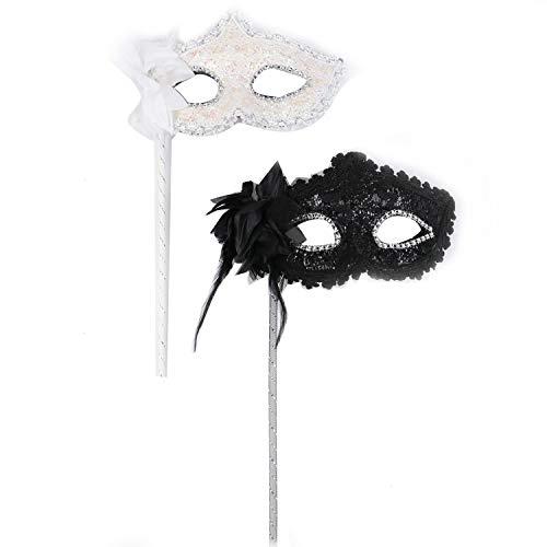 Monrocco 2Pcs Womens Masquerade Mask Halloween Venetian Mask Venetian Costume Christmas Party Mask on a Stick,Black & White]()
