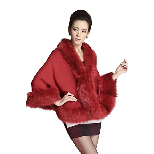 PHOTNO Spring Autumn Short poncho sweater Thin Cape Stole Wrap Coat for women (Red)
