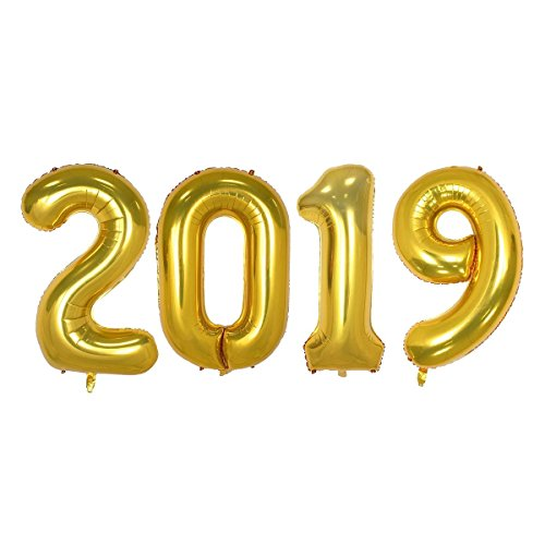 40inch Number 2019 Foil Balloons Graduation Balloons New Year Festival Party Decorations Graduation Event Anniversary Party Supplies (Gold)