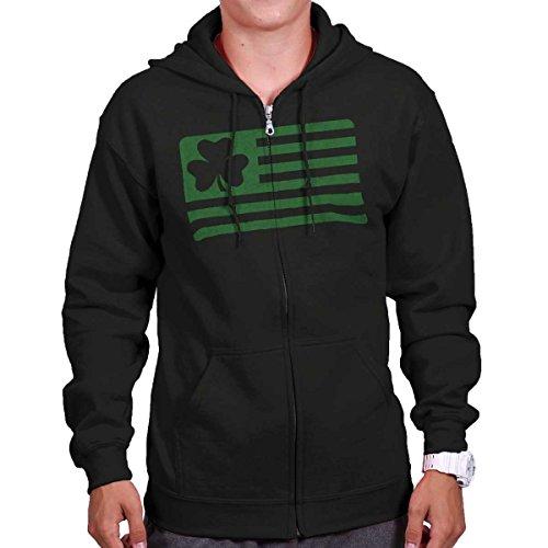 Ireland Flag Sweatshirt (Brisco Brands Saint Patricks Day Funny Shirt Shamrock Flag Cool Gift Patty Zipper Hoodie)