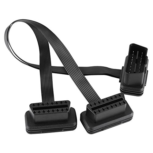 OBD2 Extension Cable Car OBD2 16pin 2 in 1 Converted Cable Diagnostic Extension Cable Connector Adapter: