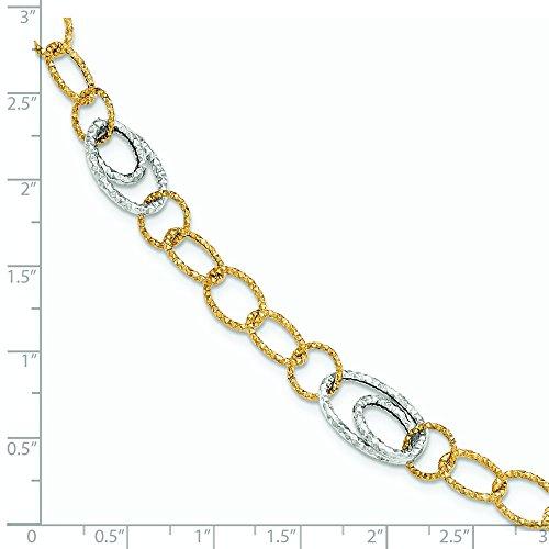 14 carats-Bicolore-poli et texturé 7,5 pouces Bracelet lien-JewelryWeb