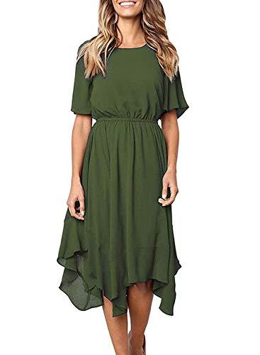 (HOTAPEI Women's Casual Short Sleeve Empire Waist Irregular Hem Summer Spring Swing Chiffon Midi Dresses Knee Length Olive Green Small)