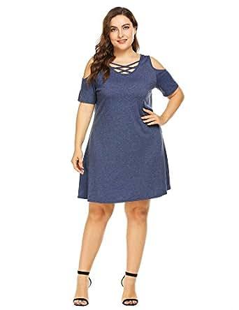 IN'VOLAND Women Plus Size Summer Off Shoulder Short Sleeve Criss Cross Neck Top Dress