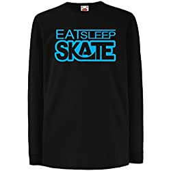 T-shirt for kids Eat Sleep Skate - for skaters, skate longboard, skateboard gifts (7-8 years Black Blue)