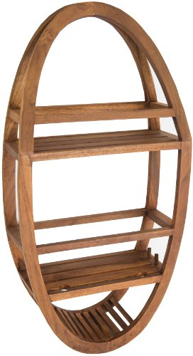 Wood Bathroom - AquaTeak Patented Moa Oval Teak Shower Organizer