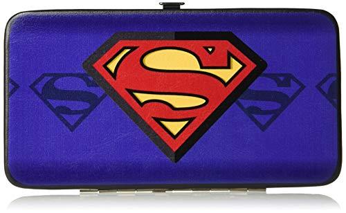 - Buckle-Down Hinge Wallet - Superman Shield Centered/Shield Stripe Blues