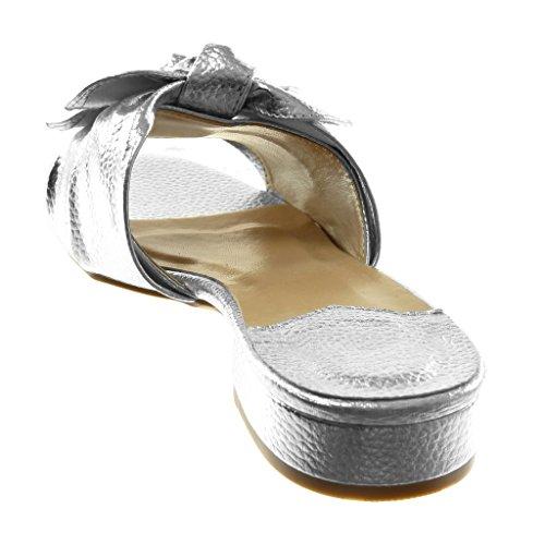 Angkorly Zapatillas Moda Sandalias Mules Slip-On Mujer Nodo granulado Tacón Ancho 3 cm Plata