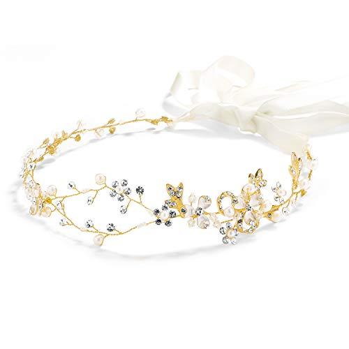Mariell Freshwater Pearl Crystal Gold Wedding Headband Hair Vine with Ribbons