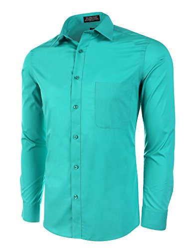 (Marquis Slim Fit Dress Shirt - Emerald,Small 14-14.5 Neck 32/33 Sleeve)