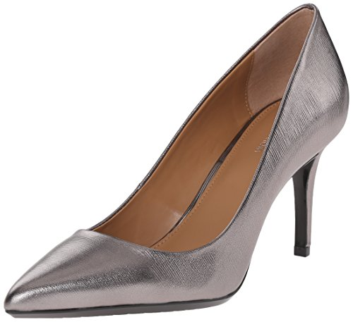 ( Calvin Klein Women's Gayle Pump, Anthracite Metallic Birch Leather - 8.5 B(M) US)