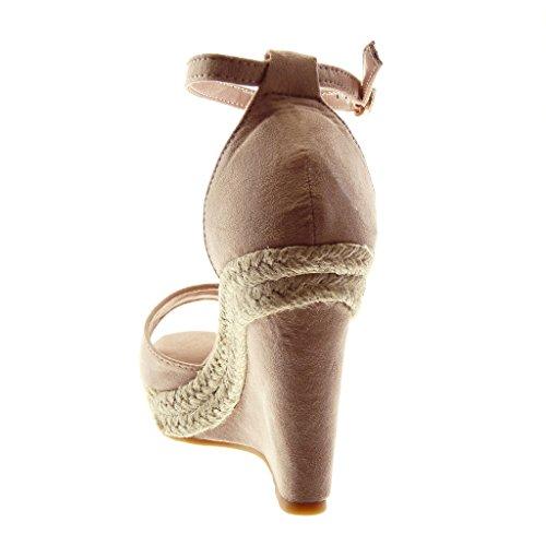Plateau Wedge Toe Plateau Kordel Pink Peep Tanga cm Schuhe Angkorly Sandalen 11 Knöchelriemen Damenmode Pantoletten qnFPfvxgv