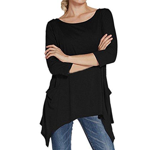 エンドウ子テンポHonghu Women 3/4 Sleeve Swing不規則なチュニックトップスTシャツ ブラック S