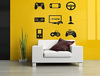 Wall Room Decor Art Vinyl Sticker Mural Decal Gamer Video I Love Game Poster Set Words Controller AS2991