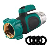 Garden Hose Shut Off Valve, Water Hose Connector - Quick Connect Shutoff Coupling with Comfortable Rubberized Grip and Smooth Long Knobs (4 Free Washers)