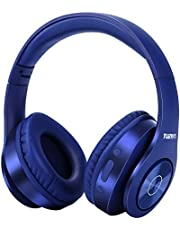 Bluetooth-hörlurar trådlösa, Tuinyo over ear stereo trådlöst headset 35H speltid med djup bas, mjukt minnes-protein öronmuffar, inbyggt mikrofon-kabelanslutet läge PC/mobiler – blått mörkt
