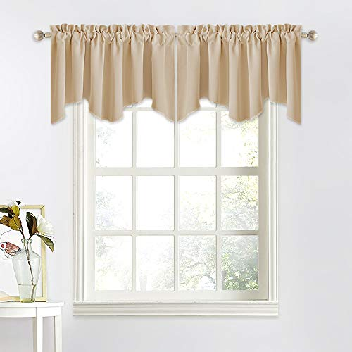 NICETOWN Thermal Room Darkening Valance - Short Curtain 52 inches by 18 inches Scalloped Valance for Living Room, Kids Room, Dorm, Nursery, Kitchen, Bow Window (Biscotti Beige, Single Panel) (Room Living For Short Curtains)