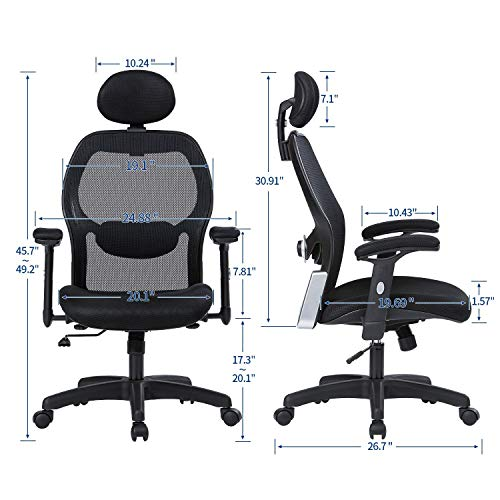 LIANFENG Ergonomic Office Chair, High Back Executive Swivel Computer Desk Chair with Adjustable Armrests and Headrest, Back Lumbar Support, Black by LIANFENG (Image #5)