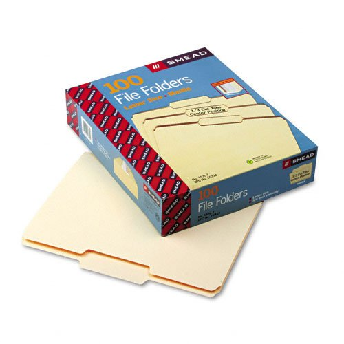 Single Top Manila Folders - Smead Products - Smead - File Folders, 1/3 Cut 2nd Position, 1-Ply Top Tab, Letter, Manila, 100/Box - Sold As 1 Box - An office staple. - Single-ply tops. - 11 pt. Manila. - Scored for 3/4