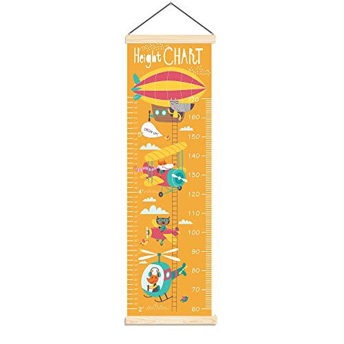 Panda_mall Baby Height Growth Chart Ruler Kids Roll-up Canvas Height Chart Removable Wall Hanging Measurement Chart Wall Decoration with Wood Frame for Boys Girls Kids Room(Aircraft)