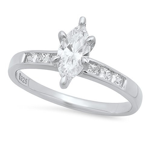 Marquise-Cut CZ Solitaire 2.9mm Sterling Silver Square CZ Engagement Ring, Sz. 6 Made in Italy + Bonus Cloth ()