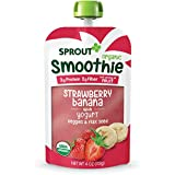Sprout Organic Toddler Smoothie Pouches, Strawberry Banana w/ Yogurt, 4 Ounce (Pack of 6)